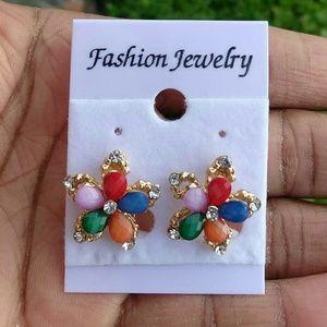 Jewelry - Multicolor Flower Petal Gold Tone CZ Stud Earrings